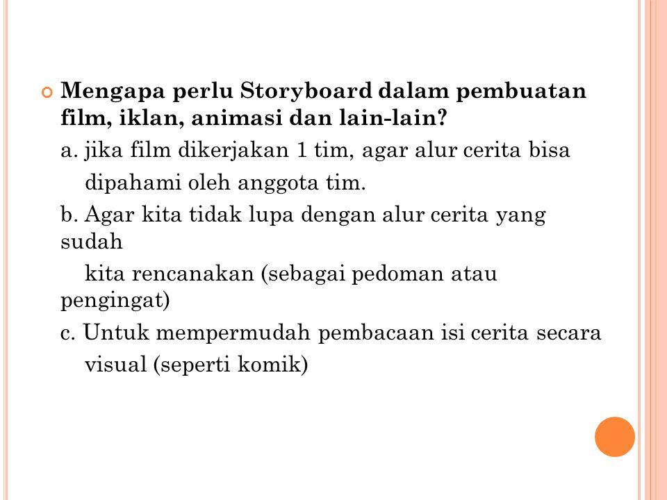 Mengapa perlu Storyboard dalam pembuatan film, iklan, animasi dan lain-lain? a. jika film dikerjakan 1 tim, agar alur cerita bisa dipahami oleh anggot
