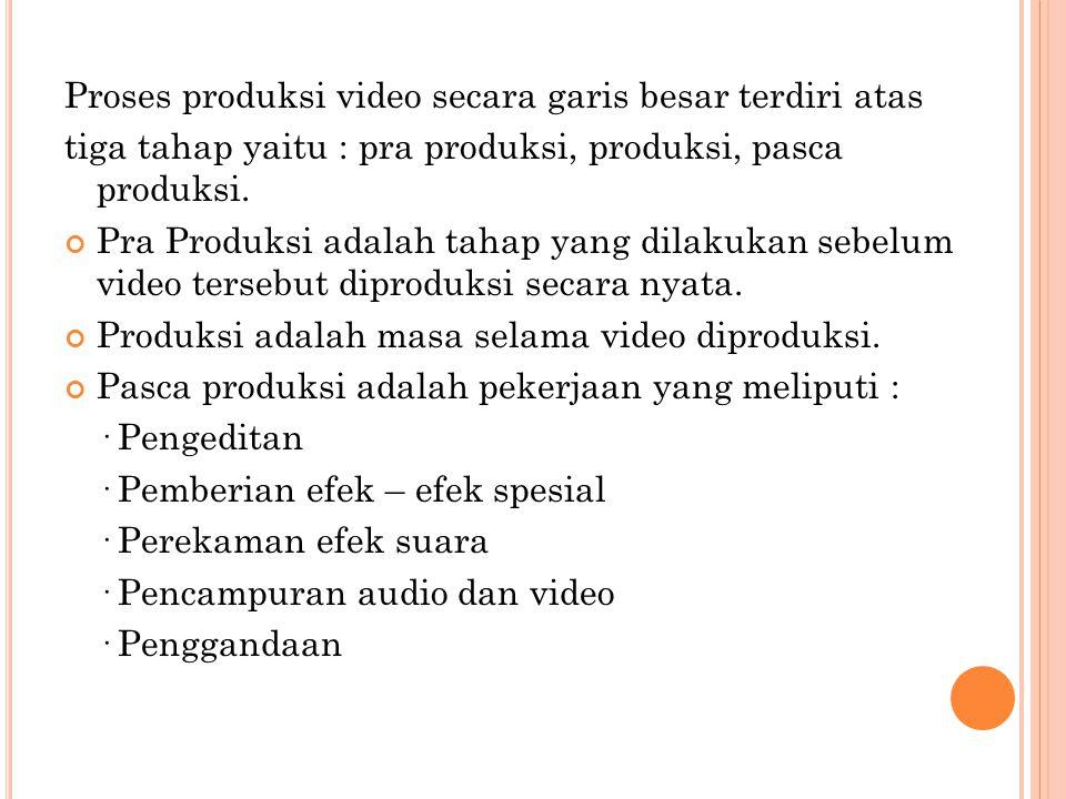 Proses produksi video secara garis besar terdiri atas tiga tahap yaitu : pra produksi, produksi, pasca produksi. Pra Produksi adalah tahap yang dilaku