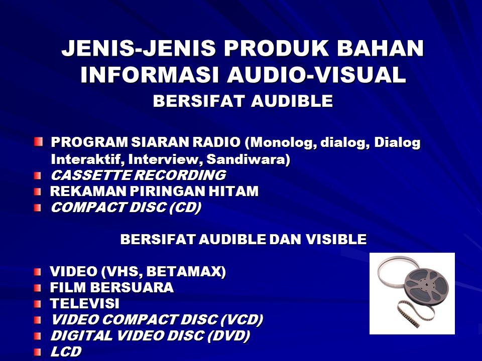 JENIS-JENIS PRODUK BAHAN INFORMASI AUDIO-VISUAL BERSIFAT AUDIBLE PROGRAM SIARAN RADIO (Monolog, dialog, Dialog PROGRAM SIARAN RADIO (Monolog, dialog,