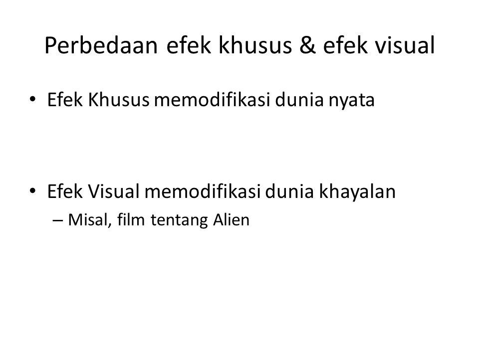 Efek Visual (VFX) • Sehari-hari kita mengenal – special effects [sfx] (efek khusus) dan – visual effects [vfx] (efek visual) • Kadang orang tidak dapa