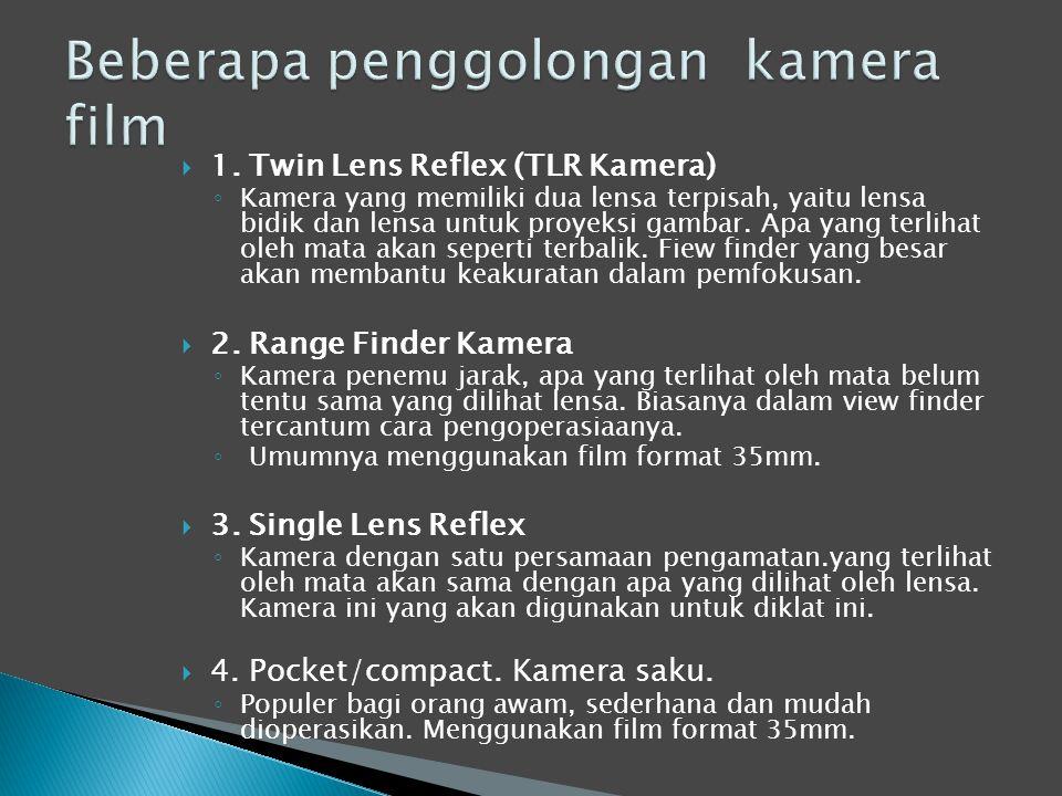  1. Twin Lens Reflex (TLR Kamera) ◦ Kamera yang memiliki dua lensa terpisah, yaitu lensa bidik dan lensa untuk proyeksi gambar. Apa yang terlihat ole