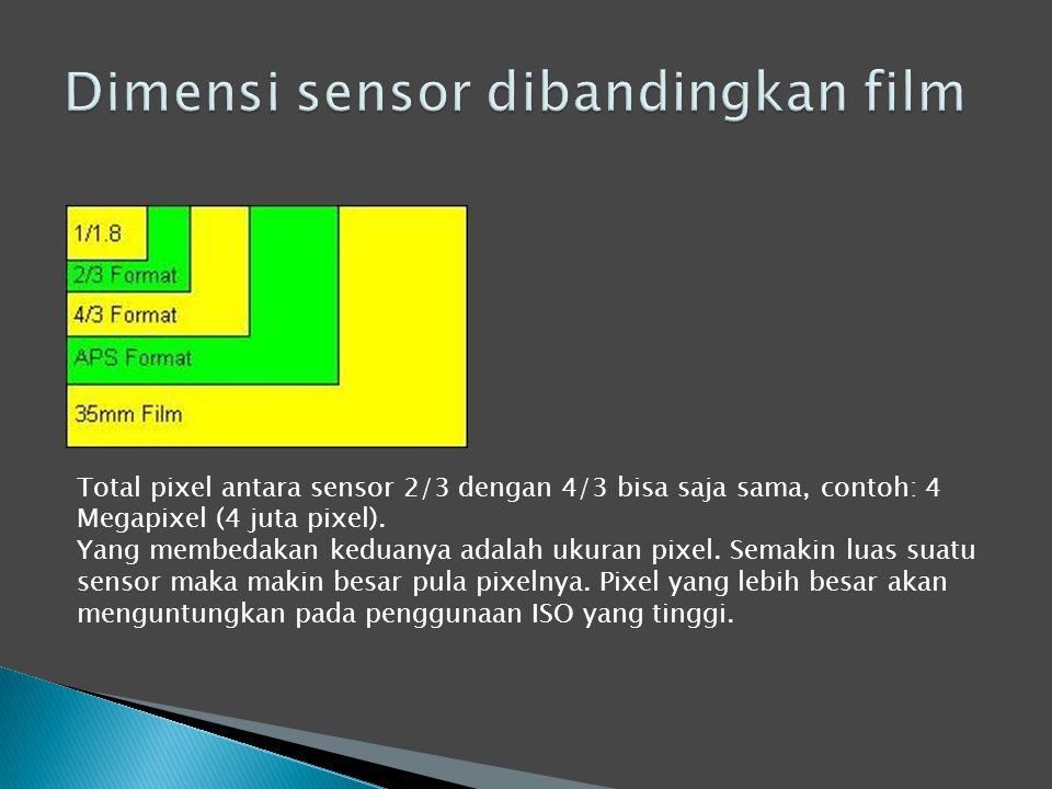Total pixel antara sensor 2/3 dengan 4/3 bisa saja sama, contoh: 4 Megapixel (4 juta pixel).