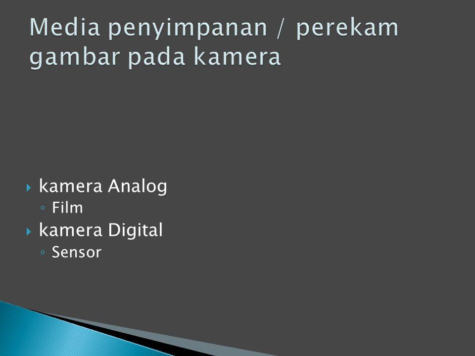  kamera Analog ◦ Film  kamera Digital ◦ Sensor