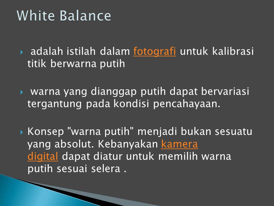  adalah istilah dalam fotografi untuk kalibrasi titik berwarna putihfotografi  warna yang dianggap putih dapat bervariasi tergantung pada kondisi pencahayaan.