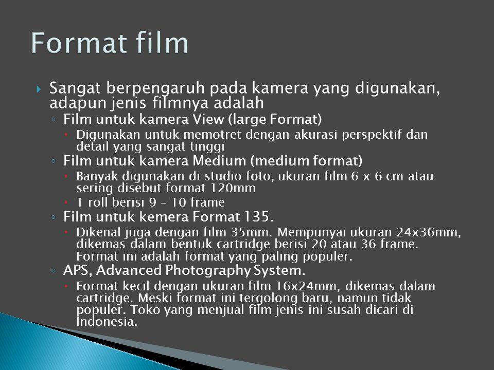  Sangat berpengaruh pada kamera yang digunakan, adapun jenis filmnya adalah ◦ Film untuk kamera View (large Format)  Digunakan untuk memotret dengan akurasi perspektif dan detail yang sangat tinggi ◦ Film untuk kamera Medium (medium format)  Banyak digunakan di studio foto, ukuran film 6 x 6 cm atau sering disebut format 120mm  1 roll berisi 9 – 10 frame ◦ Film untuk kemera Format 135.