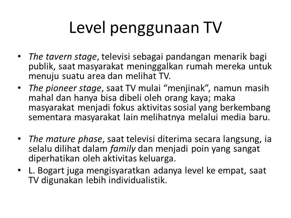 Level penggunaan TV • The tavern stage, televisi sebagai pandangan menarik bagi publik, saat masyarakat meninggalkan rumah mereka untuk menuju suatu a