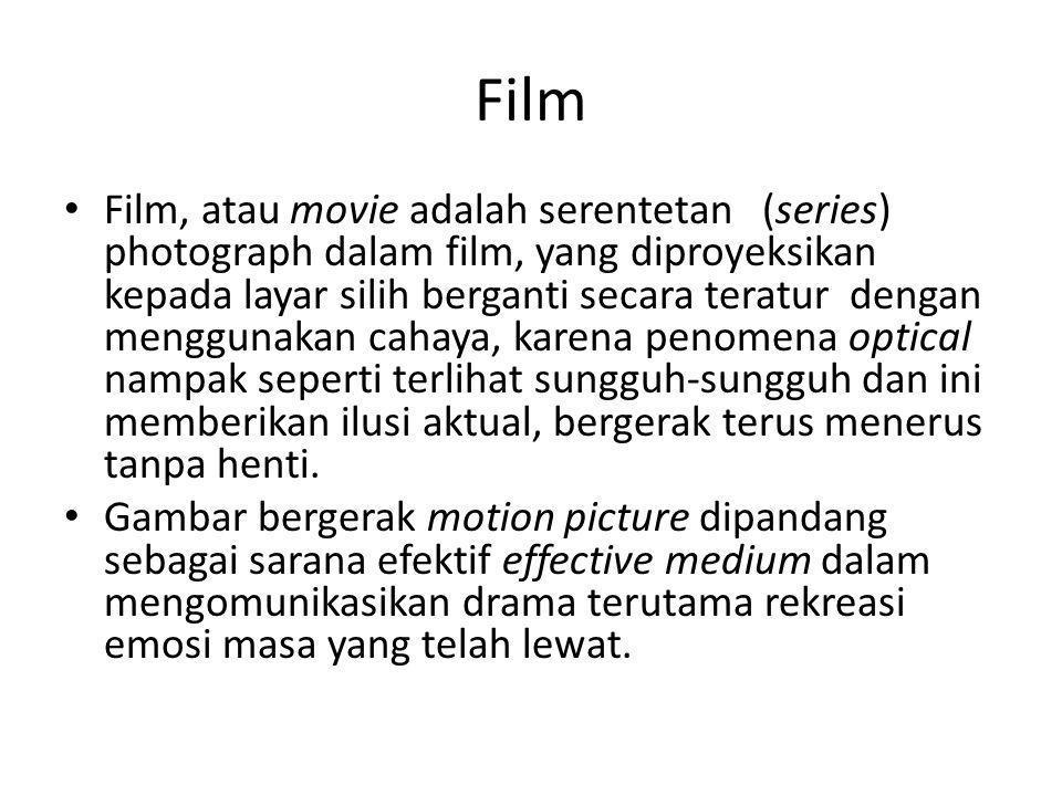 Film • Film, atau movie adalah serentetan (series) photograph dalam film, yang diproyeksikan kepada layar silih berganti secara teratur dengan menggun
