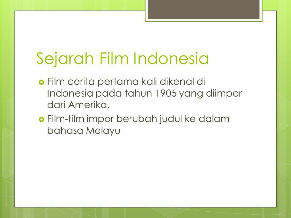 Sejarah Film Indonesia  Film cerita pertama kali dikenal di Indonesia pada tahun 1905 yang diimpor dari Amerika.