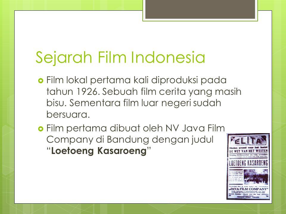 Sejarah Film Indonesia  Film lokal pertama kali diproduksi pada tahun 1926.