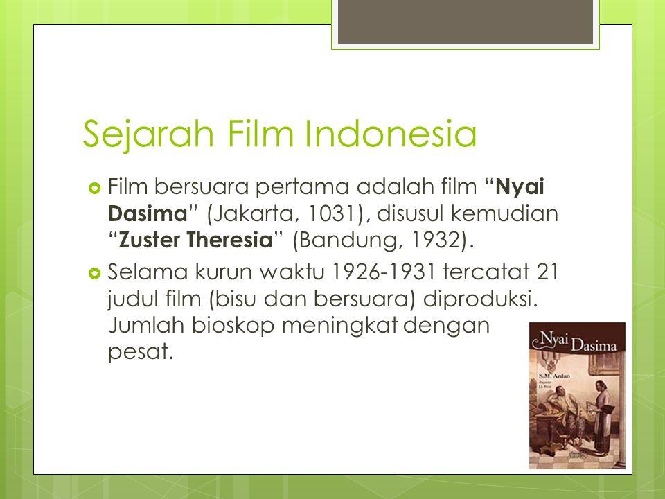 Sejarah Film Indonesia  Film bersuara pertama adalah film Nyai Dasima (Jakarta, 1031), disusul kemudian Zuster Theresia (Bandung, 1932).