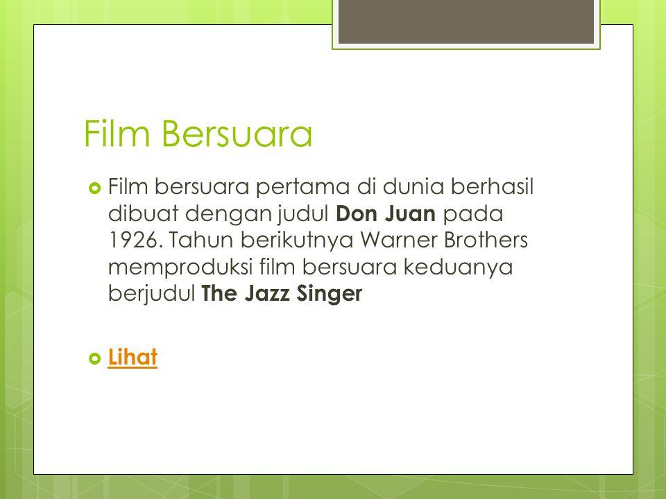 Film Bersuara  Film bersuara pertama di dunia berhasil dibuat dengan judul Don Juan pada 1926.