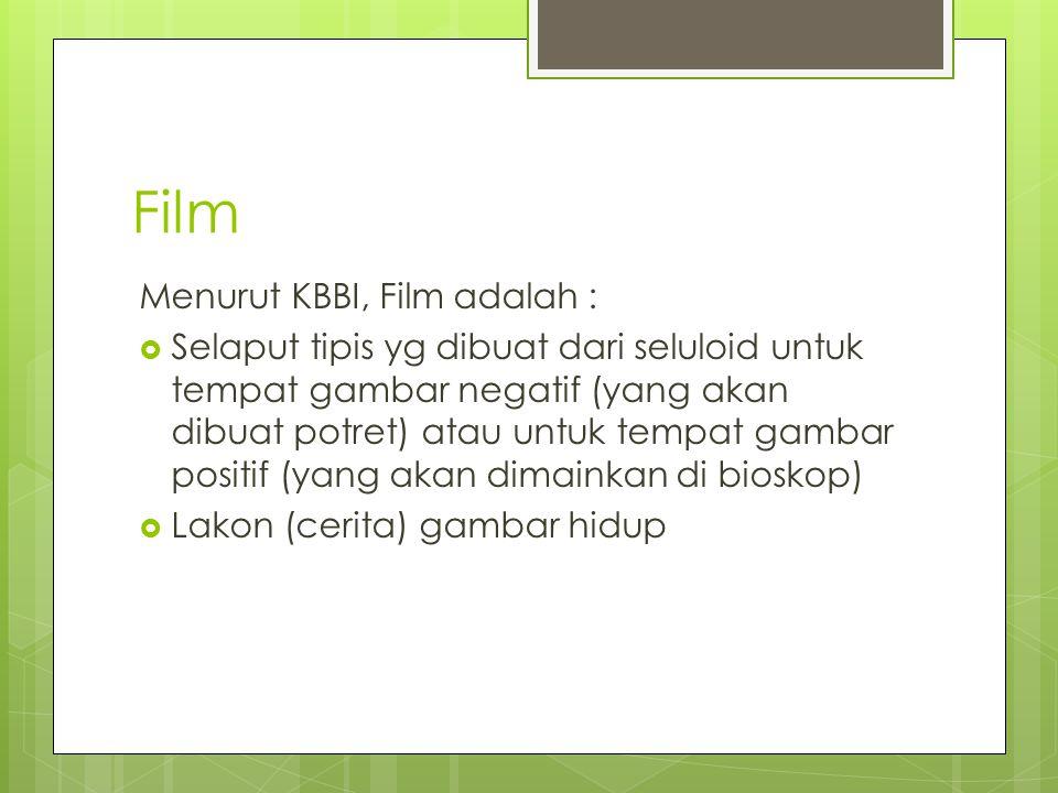 Film Menurut KBBI, Film adalah :  Selaput tipis yg dibuat dari seluloid untuk tempat gambar negatif (yang akan dibuat potret) atau untuk tempat gambar positif (yang akan dimainkan di bioskop)  Lakon (cerita) gambar hidup