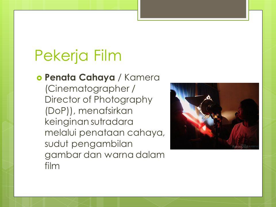 Pekerja Film  Penata Cahaya / Kamera (Cinematographer / Director of Photography (DoP)), menafsirkan keinginan sutradara melalui penataan cahaya, sudut pengambilan gambar dan warna dalam film