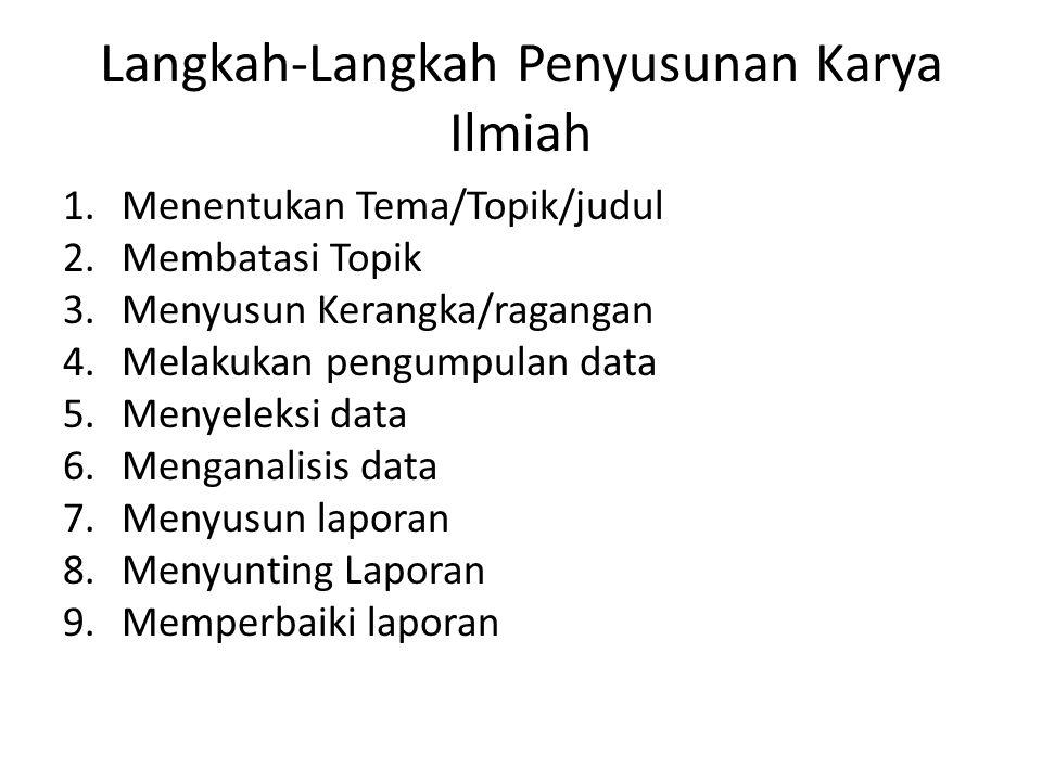 Langkah-Langkah Penyusunan Karya Ilmiah 1.Menentukan Tema/Topik/judul 2.Membatasi Topik 3.Menyusun Kerangka/ragangan 4.Melakukan pengumpulan data 5.Menyeleksi data 6.Menganalisis data 7.Menyusun laporan 8.Menyunting Laporan 9.Memperbaiki laporan