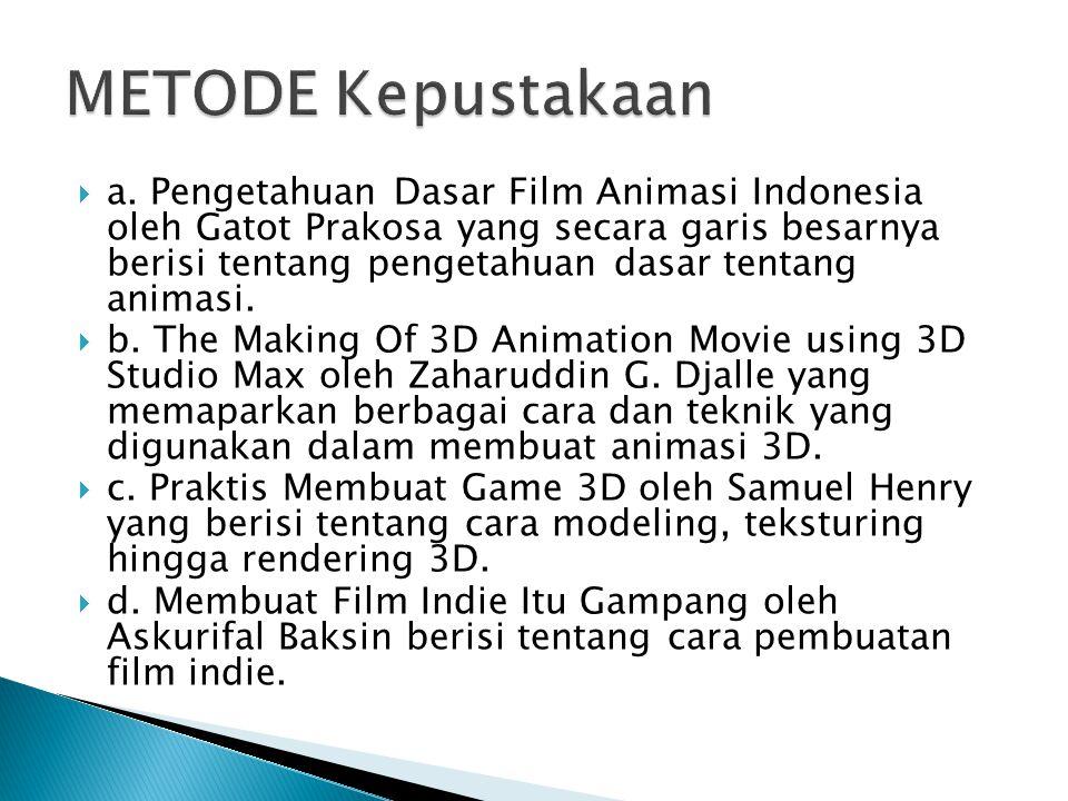  a. Pengetahuan Dasar Film Animasi Indonesia oleh Gatot Prakosa yang secara garis besarnya berisi tentang pengetahuan dasar tentang animasi.  b. The