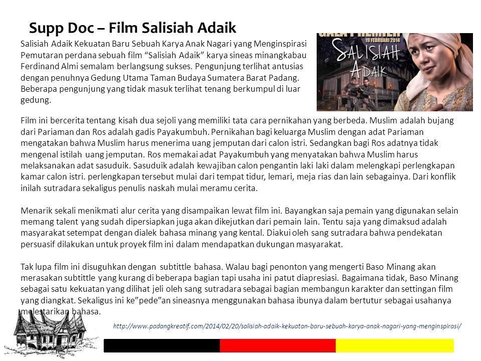 """Supp Doc – Film Salisiah Adaik Salisiah Adaik Kekuatan Baru Sebuah Karya Anak Nagari yang Menginspirasi Pemutaran perdana sebuah film """"Salisiah Adaik"""""""