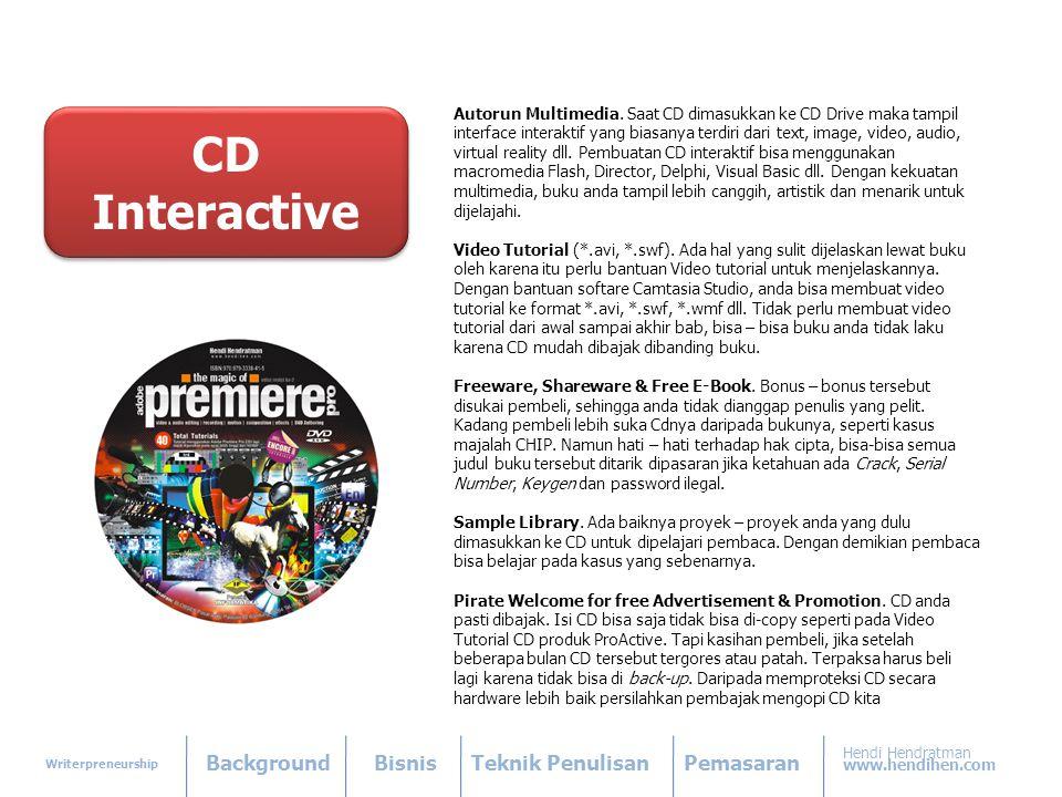 Writerpreneurship BackgroundBisnisTeknik PenulisanPemasaran Hendi Hendratman www.hendihen.com Autorun Multimedia.