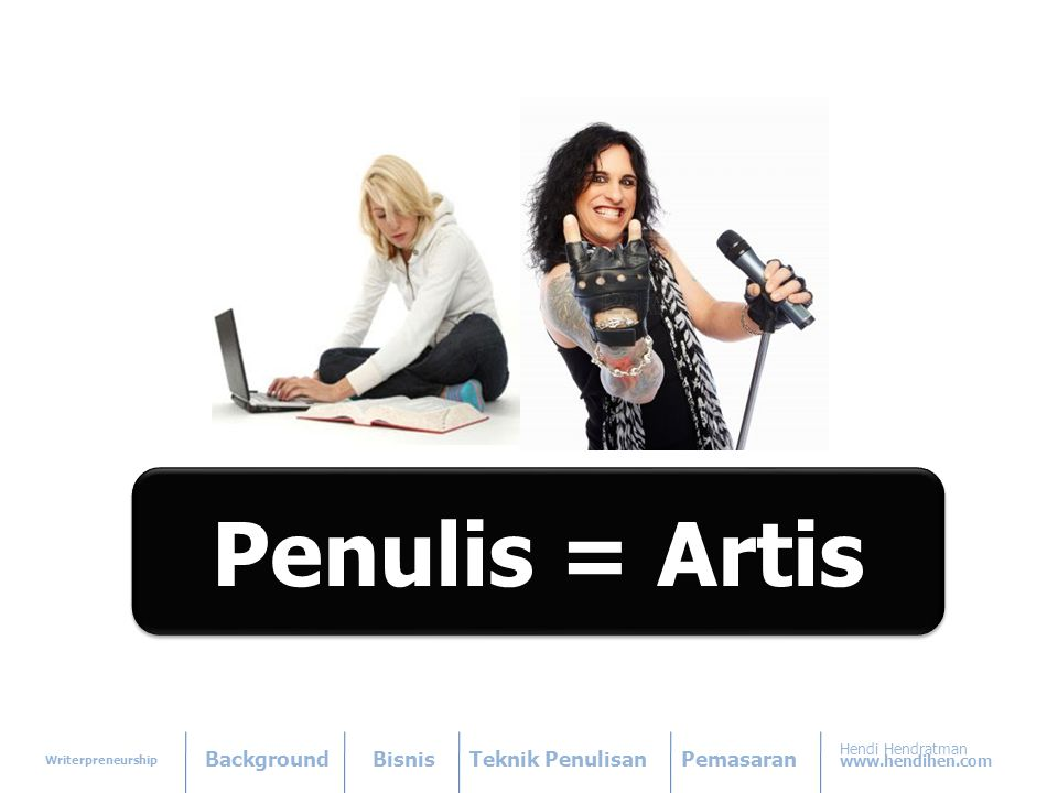 Writerpreneurship BackgroundBisnisTeknik PenulisanPemasaran Hendi Hendratman www.hendihen.com Penulis = Artis