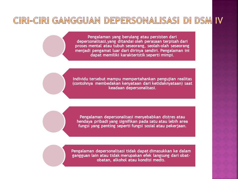 Pengalaman yang berulang atau persisten dari depersonalisasi,yang ditandai oleh perasaan terpisah dari proses mental atau tubuh seseorang, seolah-olah