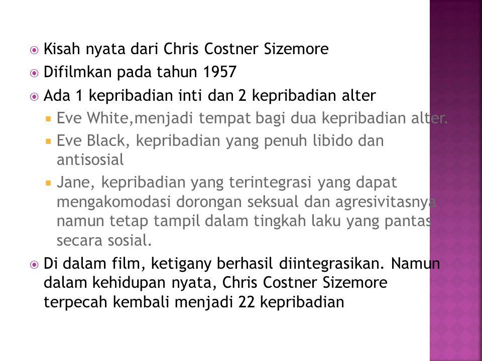  Kisah nyata dari Chris Costner Sizemore  Difilmkan pada tahun 1957  Ada 1 kepribadian inti dan 2 kepribadian alter  Eve White,menjadi tempat bagi