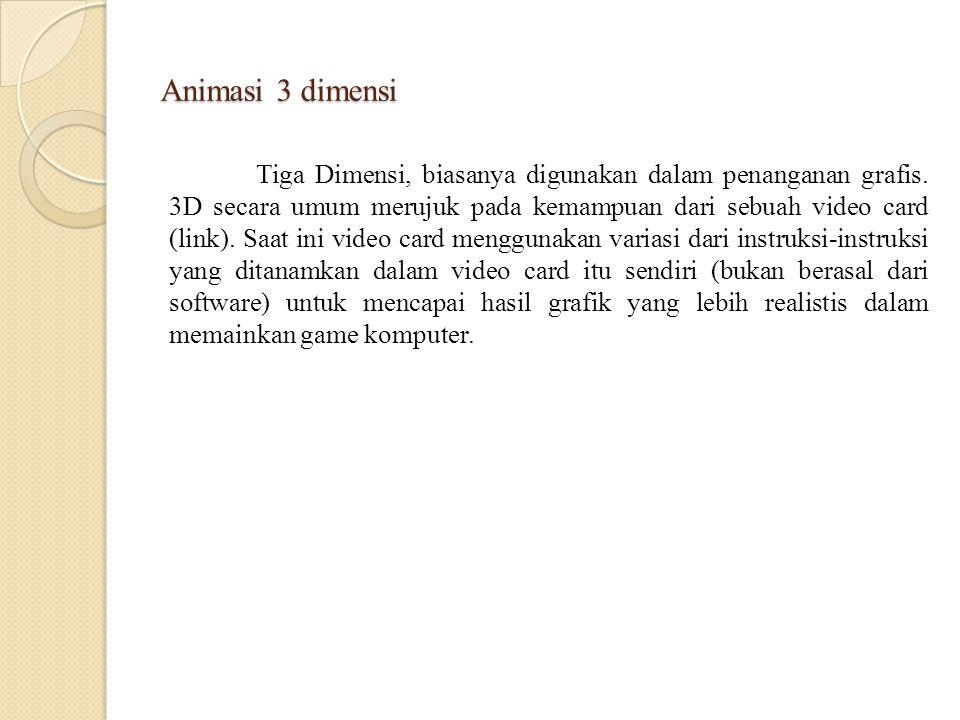 Animasi 3 dimensi Tiga Dimensi, biasanya digunakan dalam penanganan grafis. 3D secara umum merujuk pada kemampuan dari sebuah video card (link). Saat