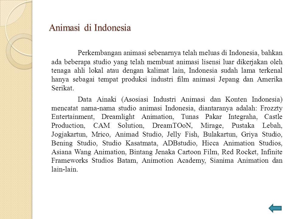 Animasi di Indonesia Perkembangan animasi sebenarnya telah meluas di Indonesia, bahkan ada beberapa studio yang telah membuat animasi lisensi luar dik