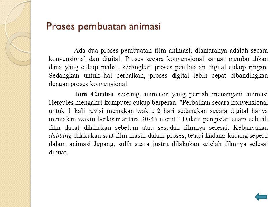 Proses pembuatan animasi Ada dua proses pembuatan film animasi, diantaranya adalah secara konvensional dan digital. Proses secara konvensional sangat