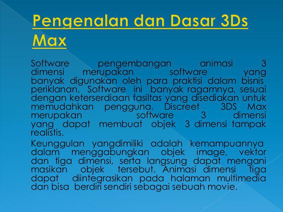 Software pengembangan animasi 3 dimensi merupakan software yang banyak digunakan oleh para praktisi dalam bisnis periklanan. Software ini banyak ragam