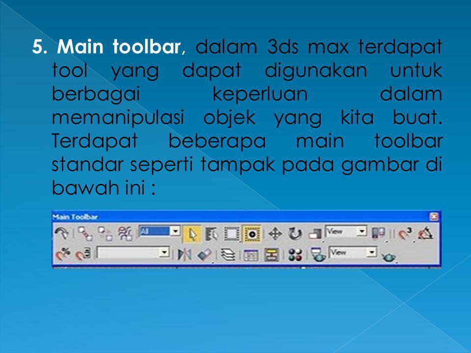 5. Main toolbar, dalam 3ds max terdapat tool yang dapat digunakan untuk berbagai keperluan dalam memanipulasi objek yang kita buat. Terdapat beberapa
