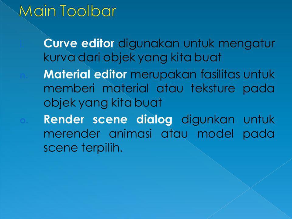 i. Curve editor digunakan untuk mengatur kurva dari objek yang kita buat n. Material editor merupakan fasilitas untuk memberi material atau teksture p