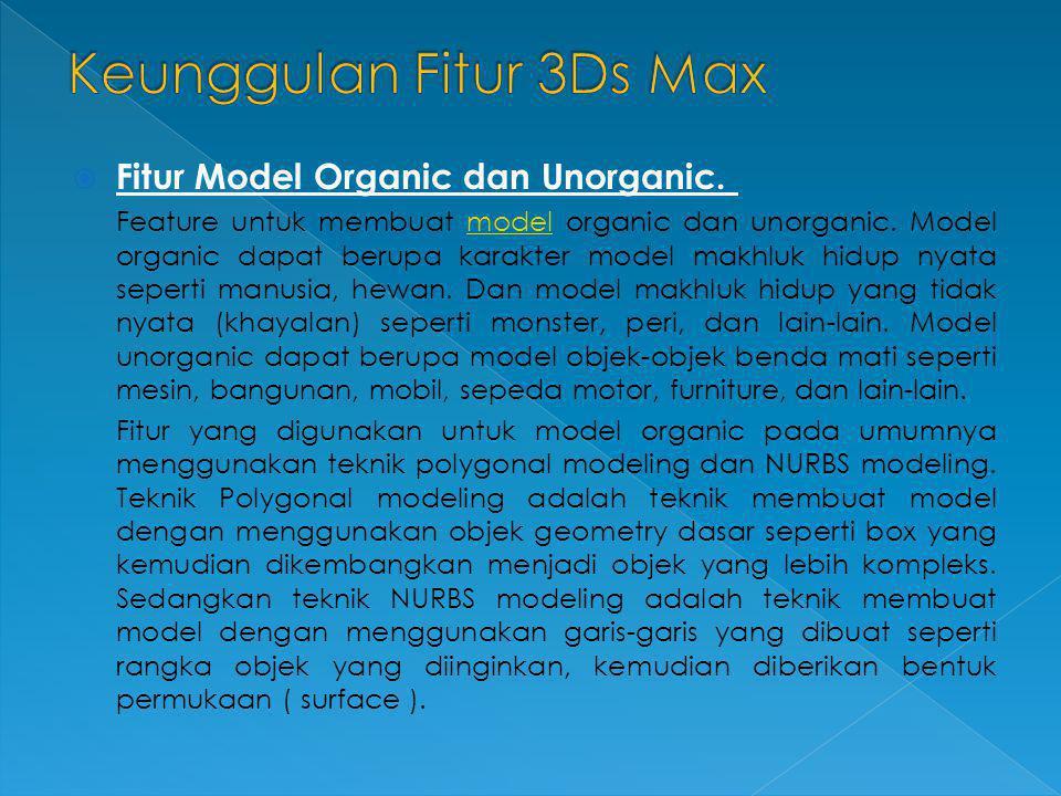  Fitur Model Organic dan Unorganic. Feature untuk membuat model organic dan unorganic. Model organic dapat berupa karakter model makhluk hidup nyata