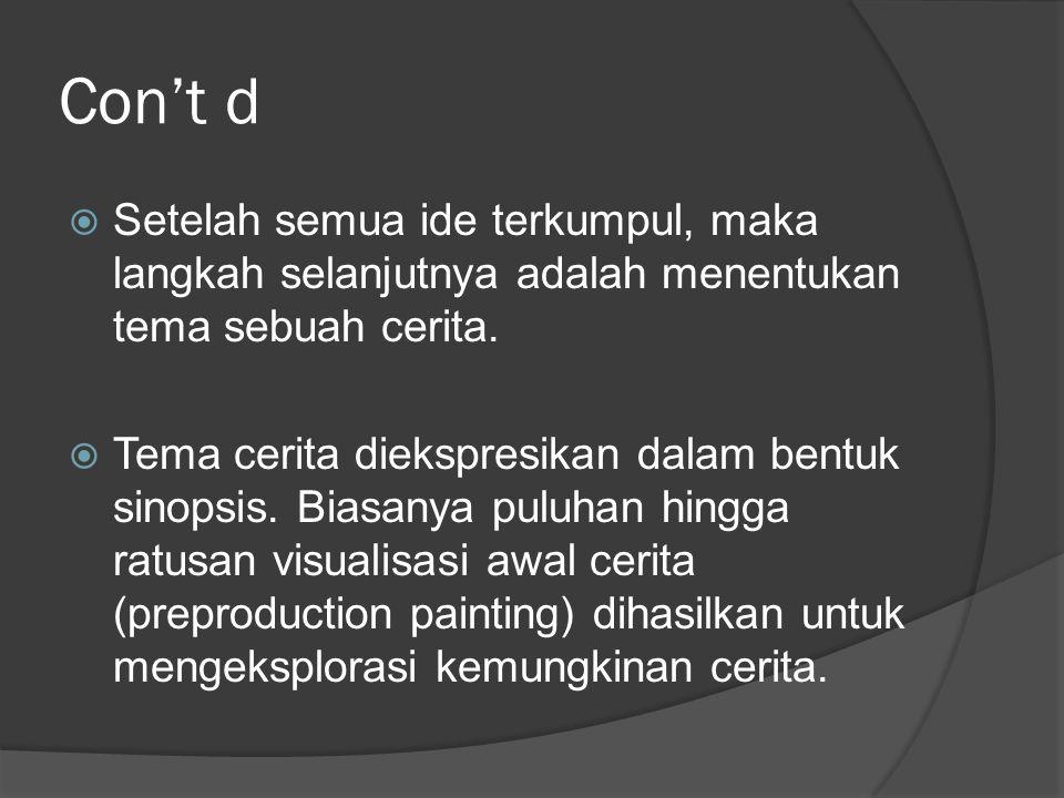 Con't d  Setelah semua ide terkumpul, maka langkah selanjutnya adalah menentukan tema sebuah cerita.  Tema cerita diekspresikan dalam bentuk sinopsi