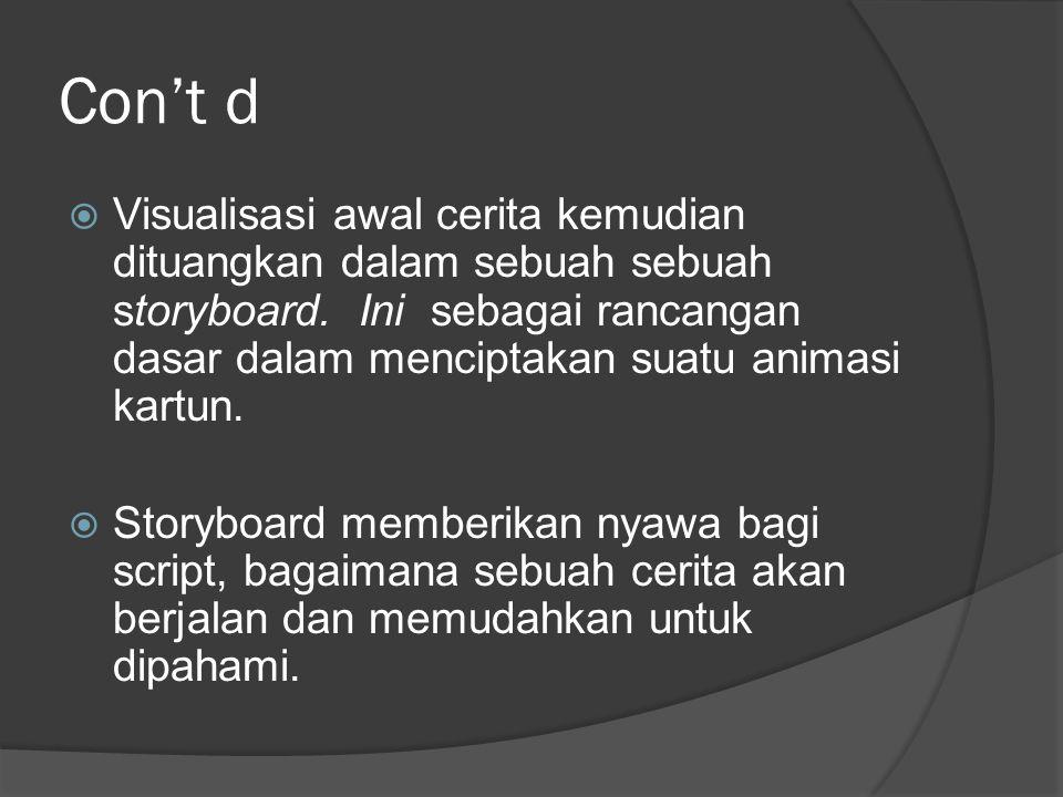 Con't d  Visualisasi awal cerita kemudian dituangkan dalam sebuah sebuah storyboard. Ini sebagai rancangan dasar dalam menciptakan suatu animasi kart