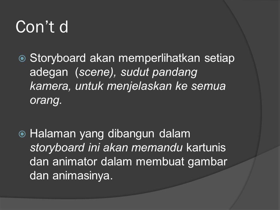 Con't d  Storyboard akan memperlihatkan setiap adegan (scene), sudut pandang kamera, untuk menjelaskan ke semua orang.  Halaman yang dibangun dalam