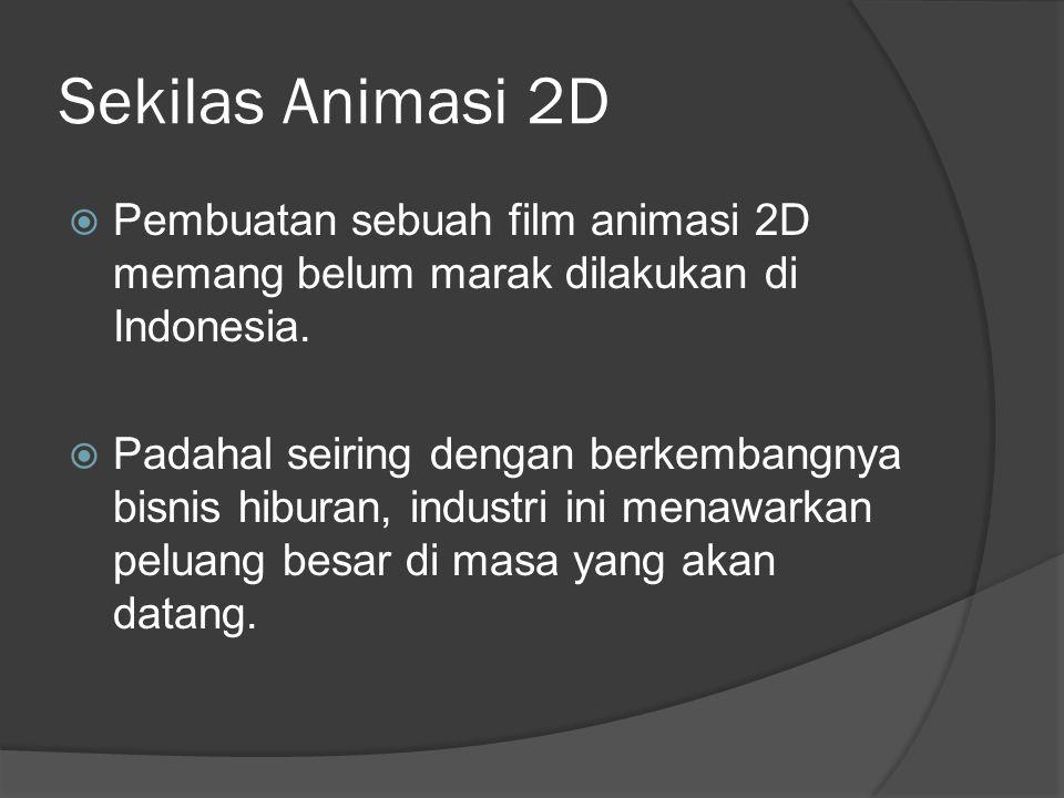 Sekilas Animasi 2D  Pembuatan sebuah film animasi 2D memang belum marak dilakukan di Indonesia.  Padahal seiring dengan berkembangnya bisnis hiburan