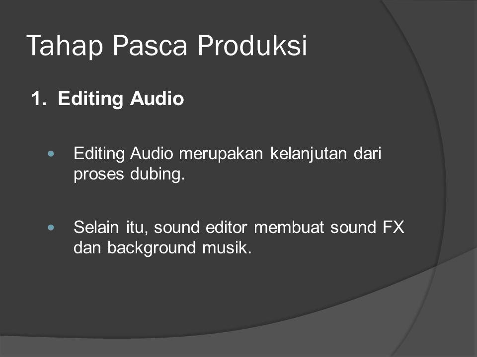 Tahap Pasca Produksi 1.Editing Audio  Editing Audio merupakan kelanjutan dari proses dubing.  Selain itu, sound editor membuat sound FX dan backgrou