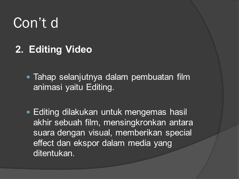 Con't d 2.Editing Video  Tahap selanjutnya dalam pembuatan film animasi yaitu Editing.  Editing dilakukan untuk mengemas hasil akhir sebuah film, me