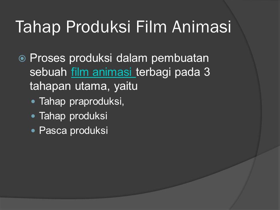 Tahap Produksi Film Animasi  Proses produksi dalam pembuatan sebuah film animasi terbagi pada 3 tahapan utama, yaitufilm animasi  Tahap praproduksi,