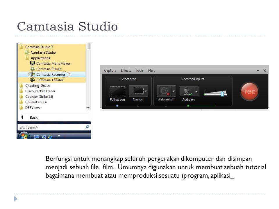 Camtasia Studio Berfungsi untuk menangkap seluruh pergerakan dikomputer dan disimpan menjadi sebuah file film.