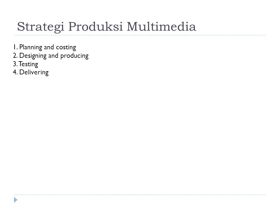 Strategi Produksi Multimedia 1. Planning and costing 2. Designing and producing 3. Testing 4. Delivering