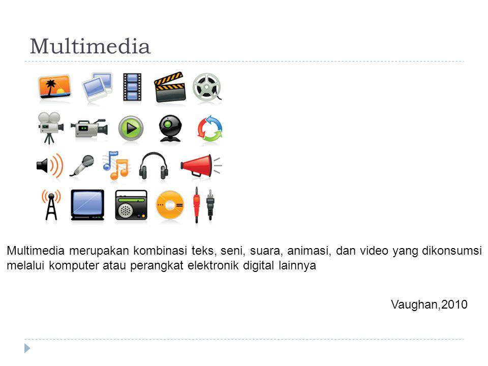 Multimedia Multimedia merupakan kombinasi teks, seni, suara, animasi, dan video yang dikonsumsi melalui komputer atau perangkat elektronik digital lainnya Vaughan,2010