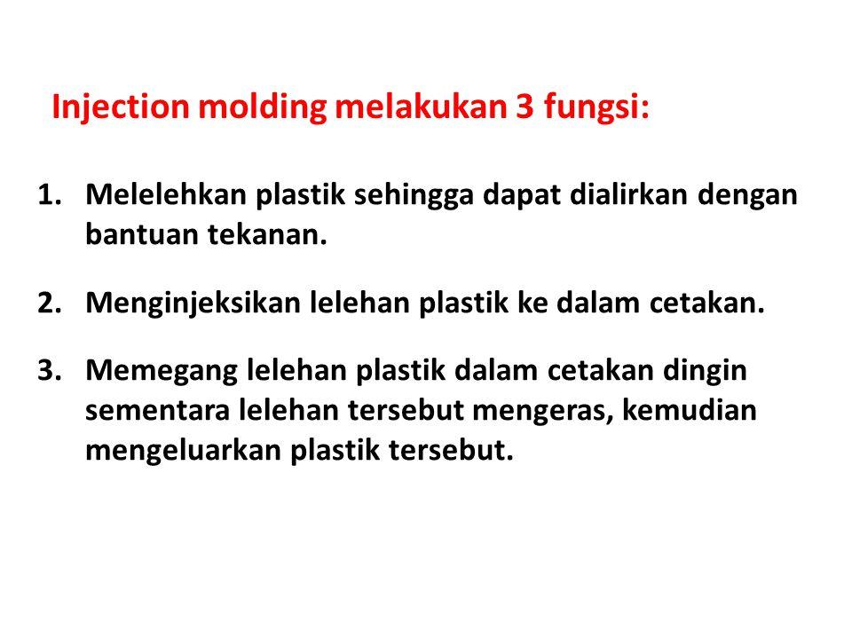 Injection molding melakukan 3 fungsi: 1.Melelehkan plastik sehingga dapat dialirkan dengan bantuan tekanan. 2.Menginjeksikan lelehan plastik ke dalam