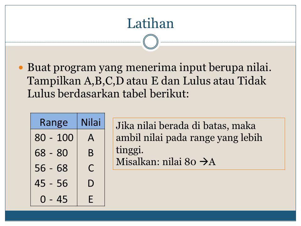 Latihan  Buat program yang menerima input berupa nilai. Tampilkan A,B,C,D atau E dan Lulus atau Tidak Lulus berdasarkan tabel berikut: RangeNilai 80-