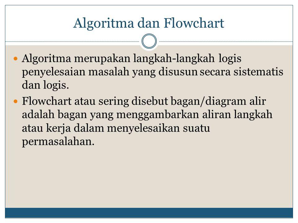 Algoritma dan Flowchart  Algoritma merupakan langkah-langkah logis penyelesaian masalah yang disusun secara sistematis dan logis.  Flowchart atau se