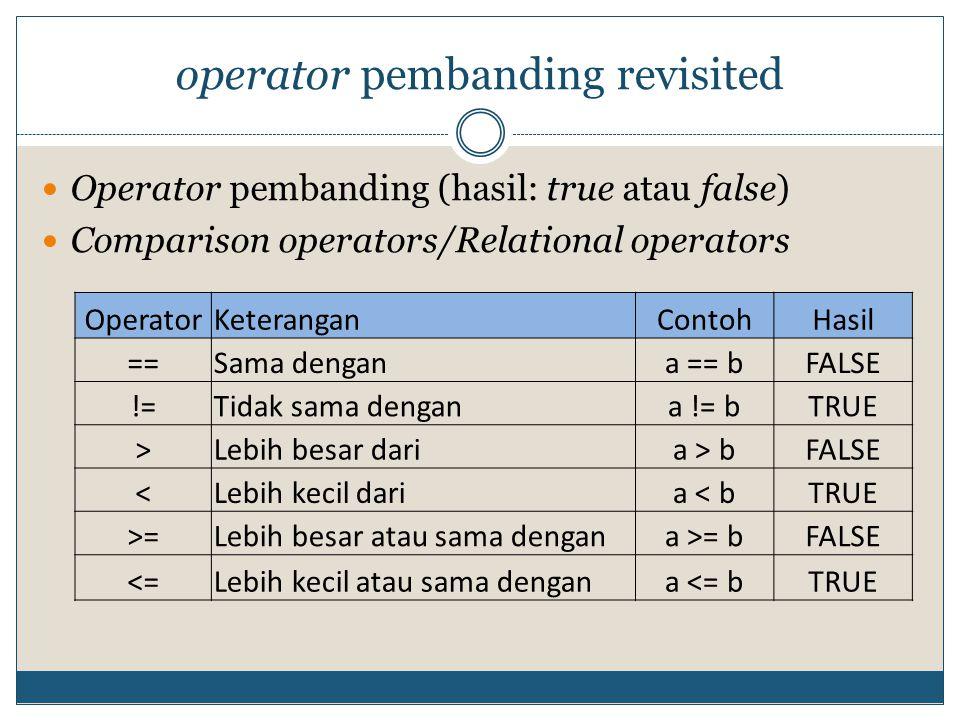 operator pembanding revisited  Operator pembanding (hasil: true atau false)  Comparison operators/Relational operators OperatorKeteranganContohHasil