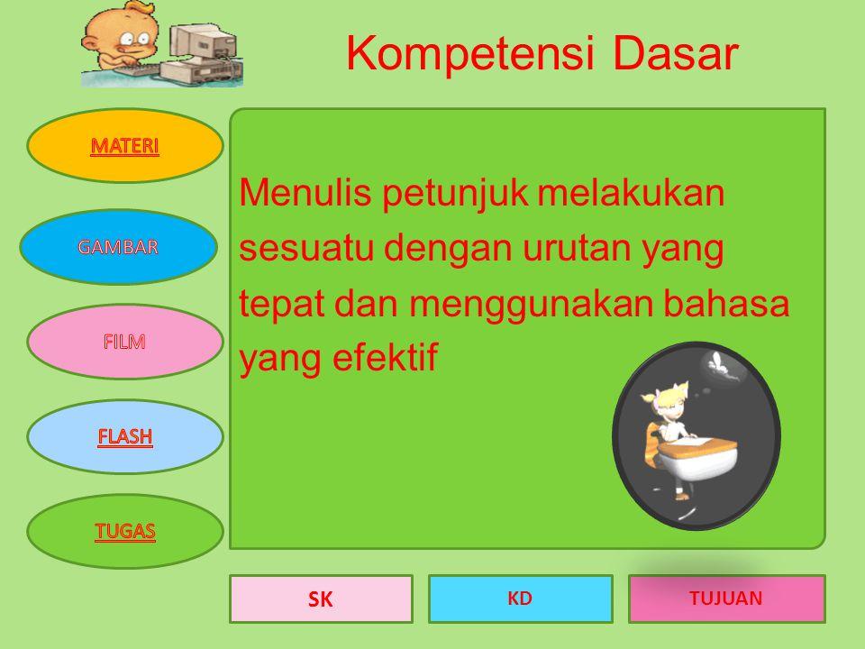 SK KDTUJUAN Standar Kompetensi: Menulis Mengungkapkan informasi dalam bentuk laporan, surat dinas, dan petunjuk