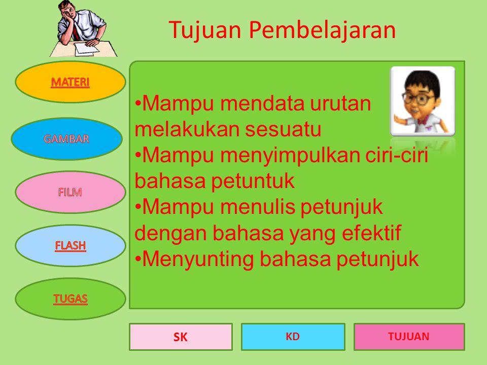 SK KDTUJUAN Kompetensi Dasar Menulis petunjuk melakukan sesuatu dengan urutan yang tepat dan menggunakan bahasa yang efektif