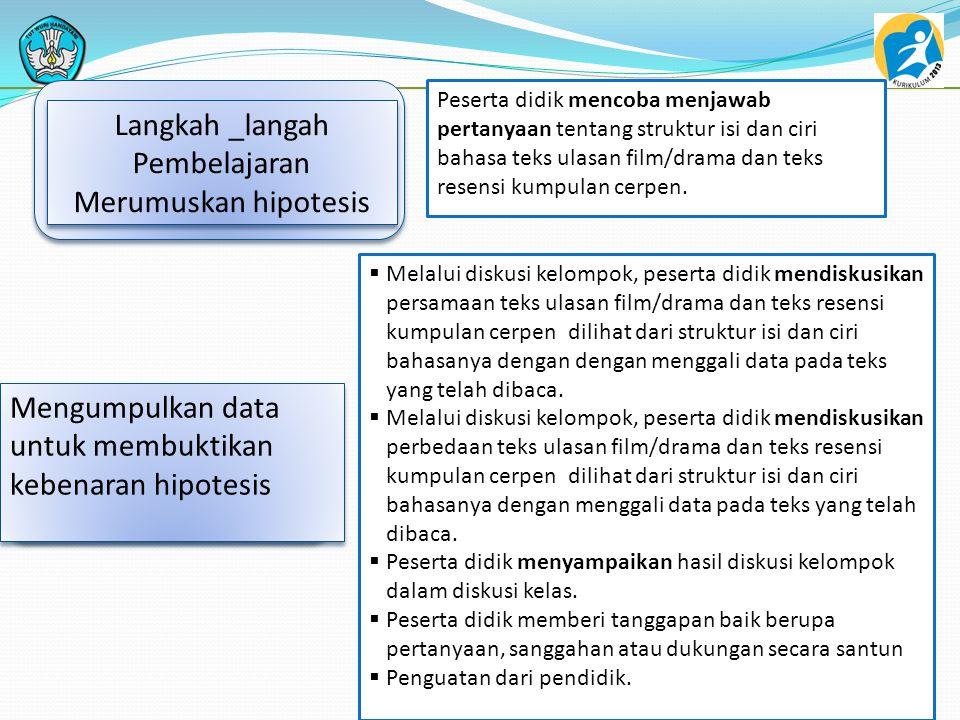 3 Langkah _langah Pembelajaran Merumuskan hipotesis Peserta didik mencoba menjawab pertanyaan tentang struktur isi dan ciri bahasa teks ulasan film/dr