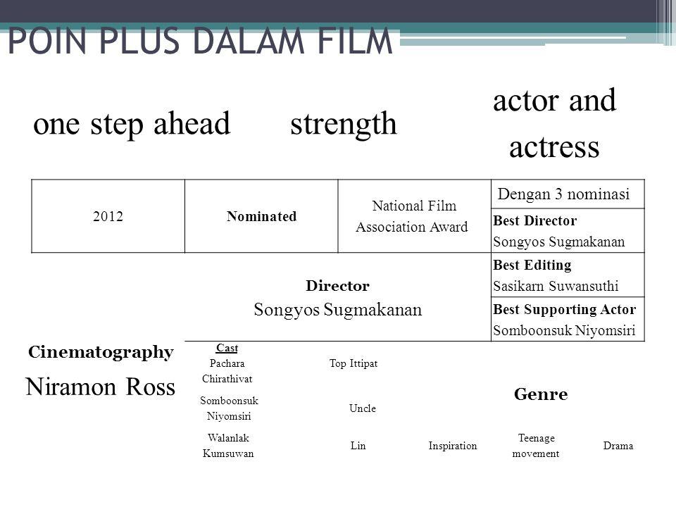 POIN PLUS DALAM FILM one step aheadstrength actor and actress 2012Nominated National Film Association Award Dengan 3 nominasi Best Director Songyos Su