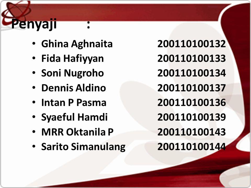 Penyaji : •G•Ghina Aghnaita200110100132 •F•Fida Hafiyyan200110100133 •S•Soni Nugroho200110100134 •D•Dennis Aldino200110100137 •I•Intan P Pasma200110100136 •S•Syaeful Hamdi200110100139 •M•MRR Oktanila P200110100143 •S•Sarito Simanulang200110100144